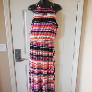 NWT Apt. 9 Maxi Dress Multi-Color Striped Strappy